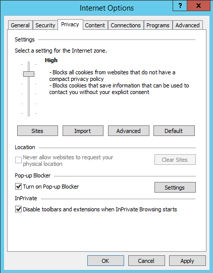 Compatible Internet Explorer privacy setting
