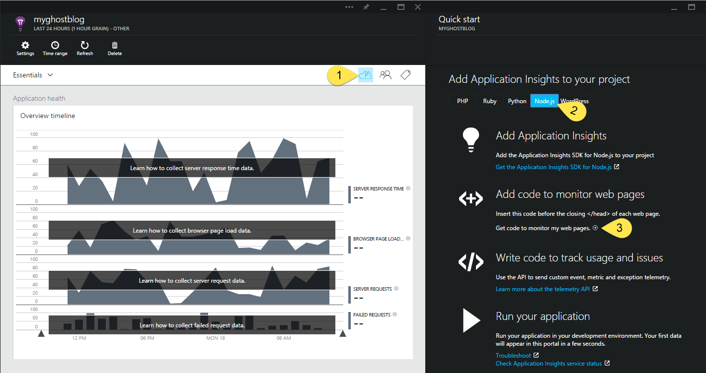 Get Application Insights Monitoring Code