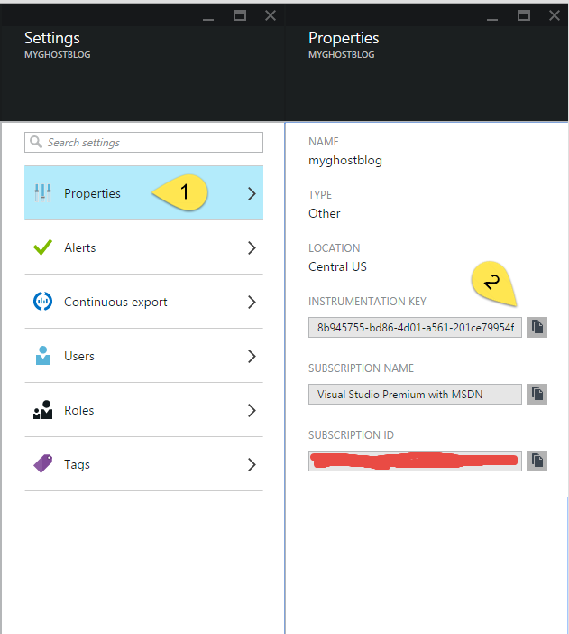 Application Insights Settings button