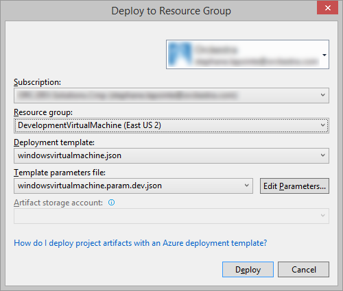 Deploy to Resource group dialog