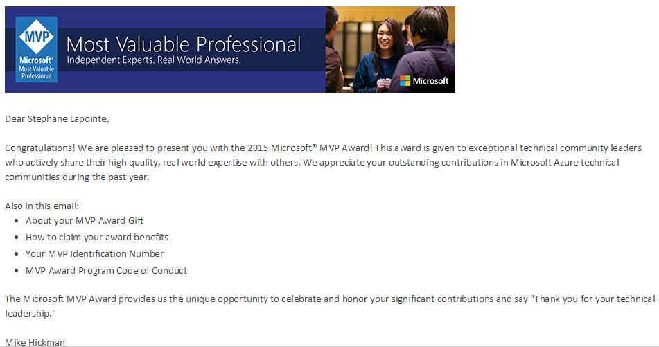 2015 Microsoft Azure MVP Award email