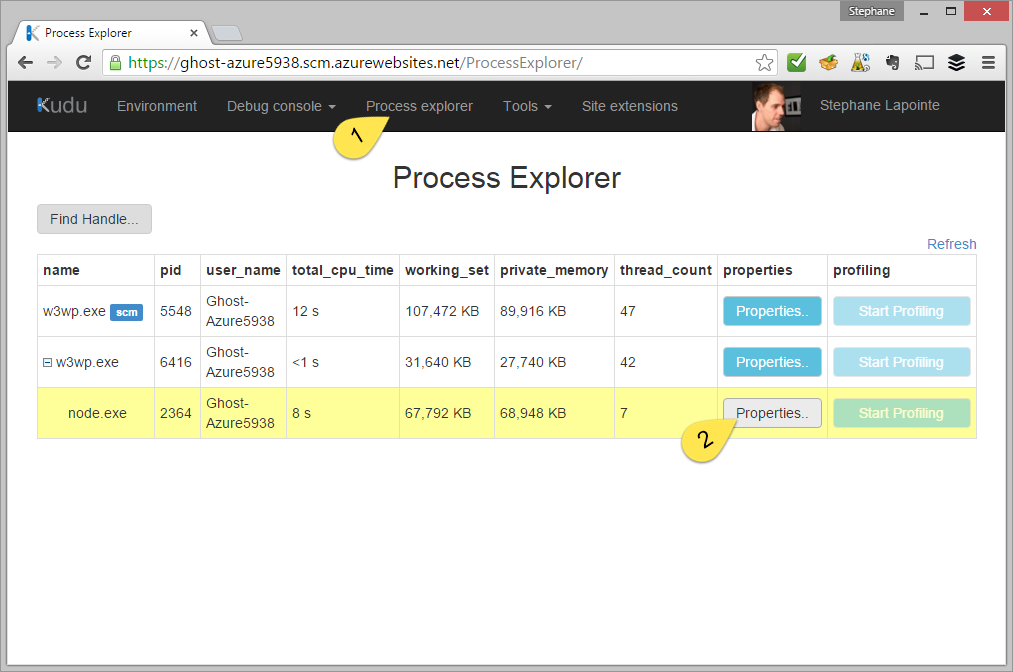 Process explorer in Kudu