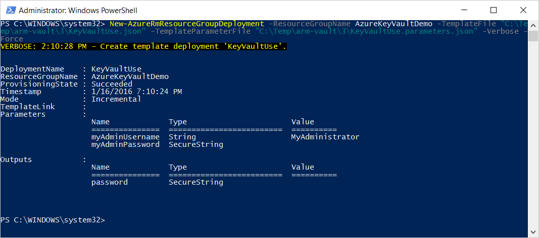 After Key Vault reference in parameters deployment execution