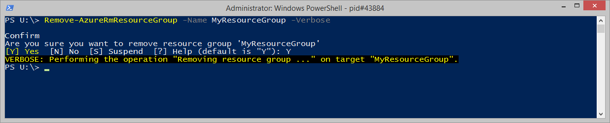 Remove-AzureRmResourceGroup