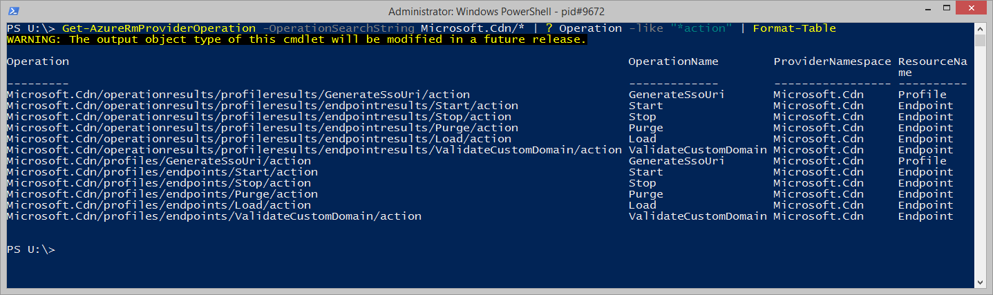 List of available actions for Microsoft.Cdn resource provider