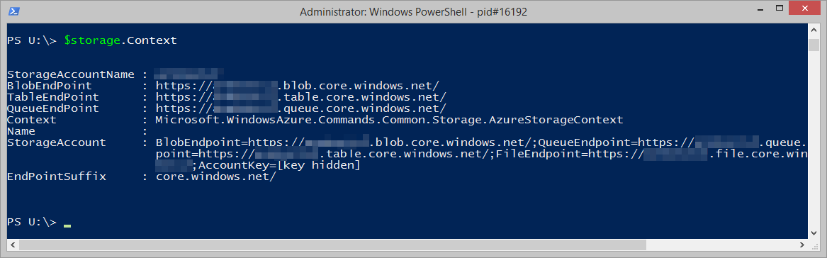 Microsoft.Azure.Commands.Management.Storage.Models.PSStorageAccount.Context