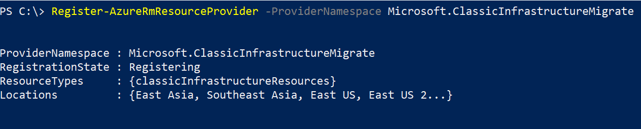Register-AzureRmResourceProvider